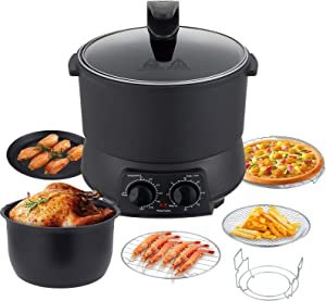 Instant Air Fryer with Pot, 8QT Large Air Fryer, Oilless Cooker for Rotisserie Chicken, 8-in-1 Air Fryer Oven, Freidora de Aire, Easy to Clean Frying Pot and LED Touch Screen, Black (Mechanical)