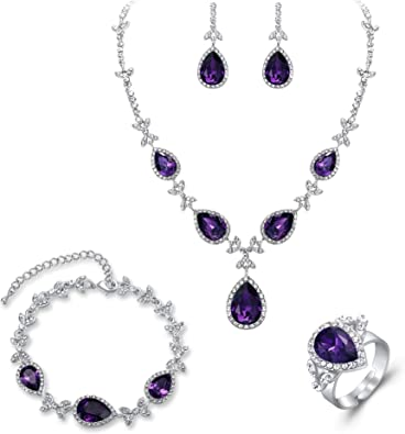 SILVER TONE TEAR DROP METAL /& LAVENDER  CRYSTAL PENDANT NECKLACE EARRING SET