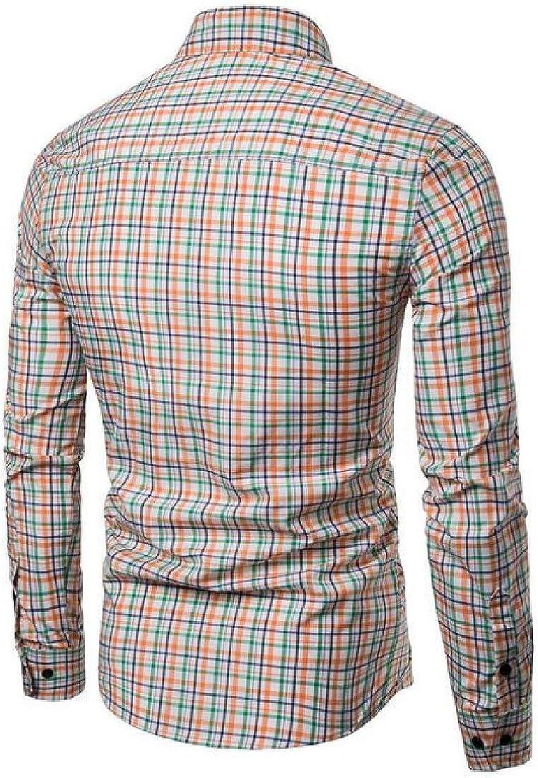 Domple Men Business Button Down Checkered Casual Long Sleeve Dress Work Shirt