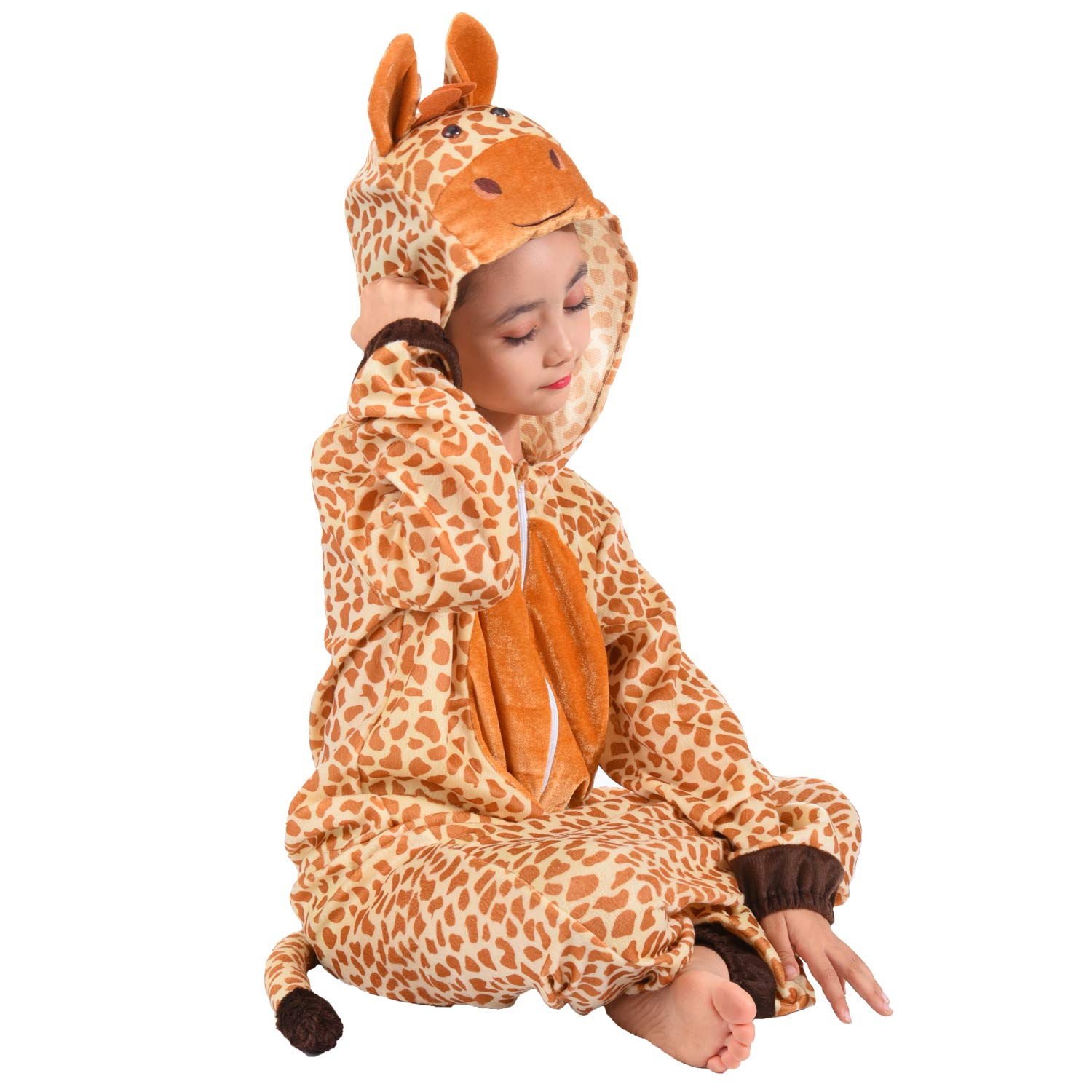 Giraffe Onesie Pajamas Fleece Animal Costume Unisex Child Sleepwear One Piece Pajamas Cosplay Costume for Boys Grils