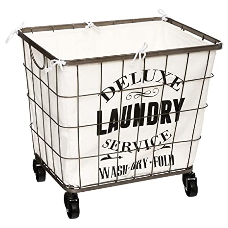 a892a60a177 Laundry basket on wheels with removable lining - Colour  cream and ...
