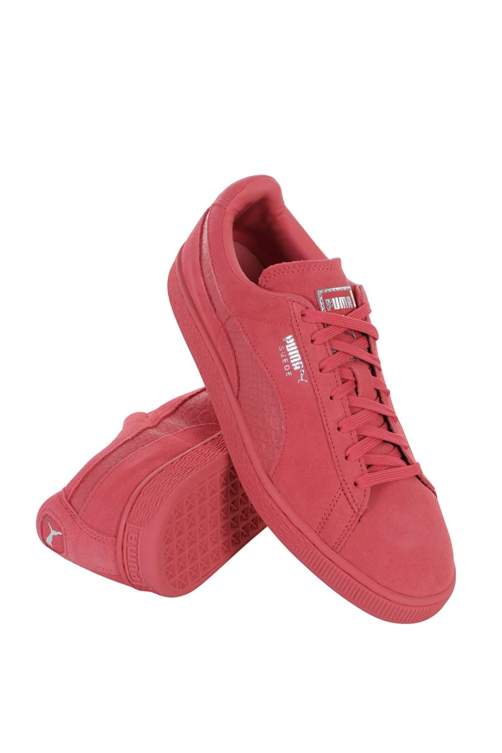 Mens Puma Suede Classic Mono Reptile Running Shoes Pink