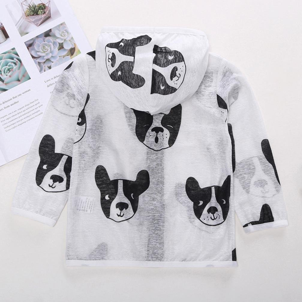 Winsummer Unisex Child Sun-Protective Clothing Summer UV Protection Print Zip Hoodie Breathable Sunscreen Jacket Tops