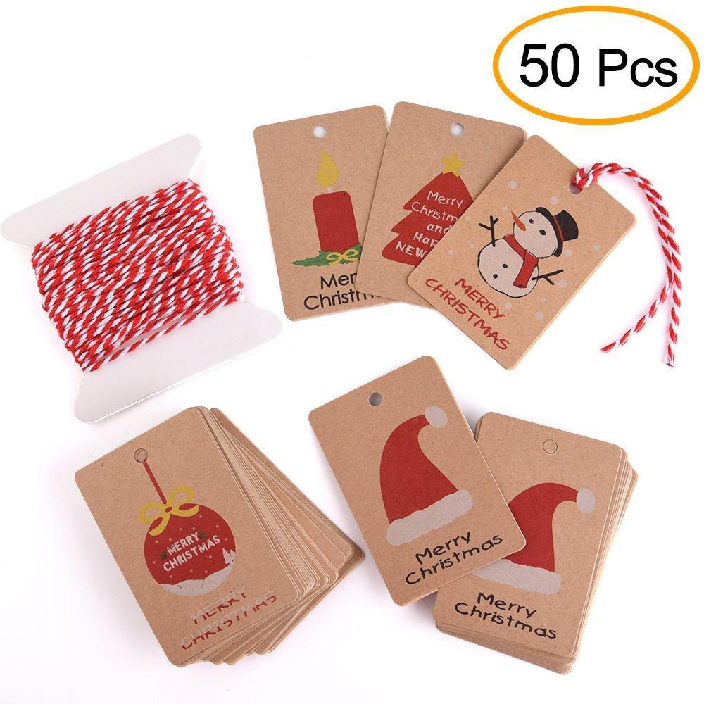 Kuuqa 50 pezzi Kraft Paper Tag regalo di Natale per Natale Confezione regalo con corda appesa, 5 diversi disegni Kuuqa- Kraft Paper-01