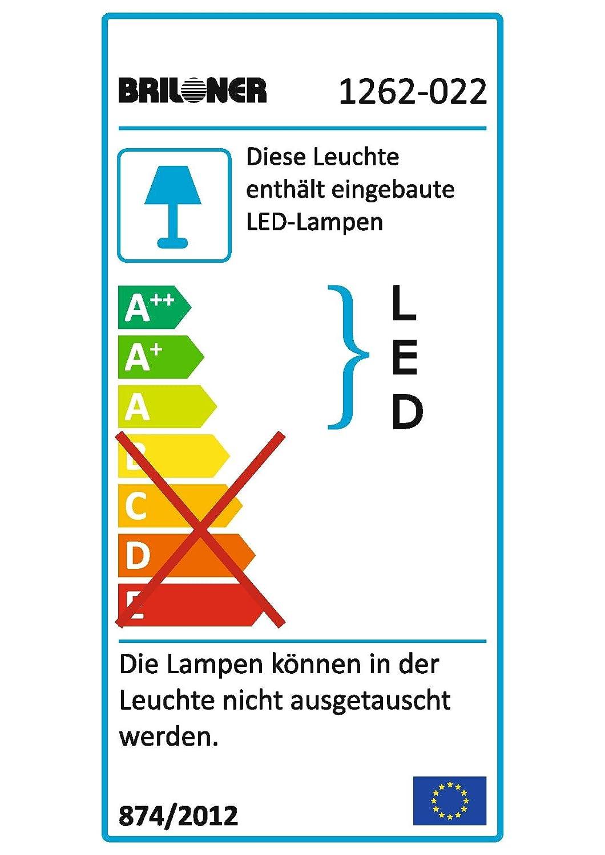 matt-nickel Briloner Leuchten LED Deckenfluter mit LeseleuchteMetall-Kunststoff klarFluter  LED-Modul 14 W 1450 lm 3000 K  EEK Ainklusive Schalter  AN//AUS Lesearm  LED-Modul 3,5 W 280 lm 3000 K  EEK A+inklusive Schalter  AN//AUS und Flexarm Durchm