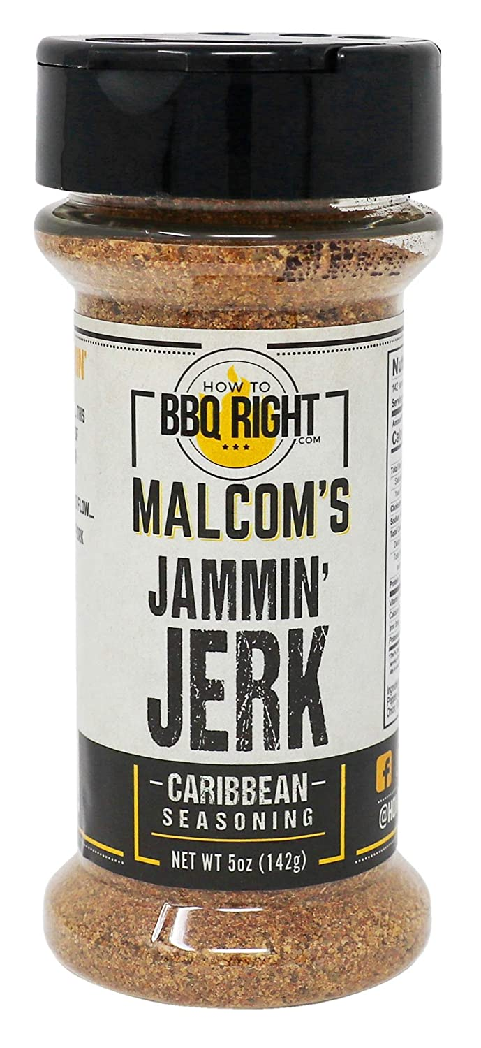 Malcom's Seasoning Jammin' Jerk   Spicy Blend of Island Seasing for BBQ, Grill and Everyday meals   Great on Chicken, Fish, Pork, and Wings   5 oz