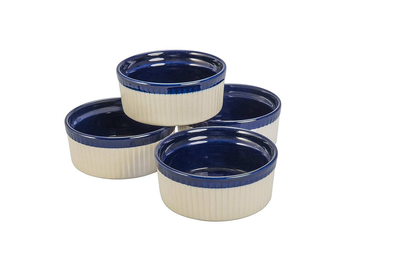 BIA Cordon Bleu Quatro 10-Ounce Soufflé Dish, Set of 4, Sand/Cobalt 400013+3145S4SIOC