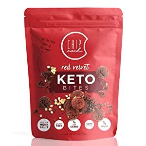 ChipMonk Keto Cookie Bites – Delicious, Low Carb, Diabetic Friendly, 1g Net Carb, Gluten Free, Sugar Free Keto Bites Sweetened with Allulose & Monk Fruit (Red Velvet Brownie, 1 Pouch (8 Bites))