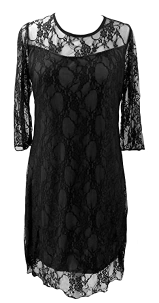 Black Red White Purple Lace Overlay A Line Party Cocktail Shift Dress Sizes 12 26