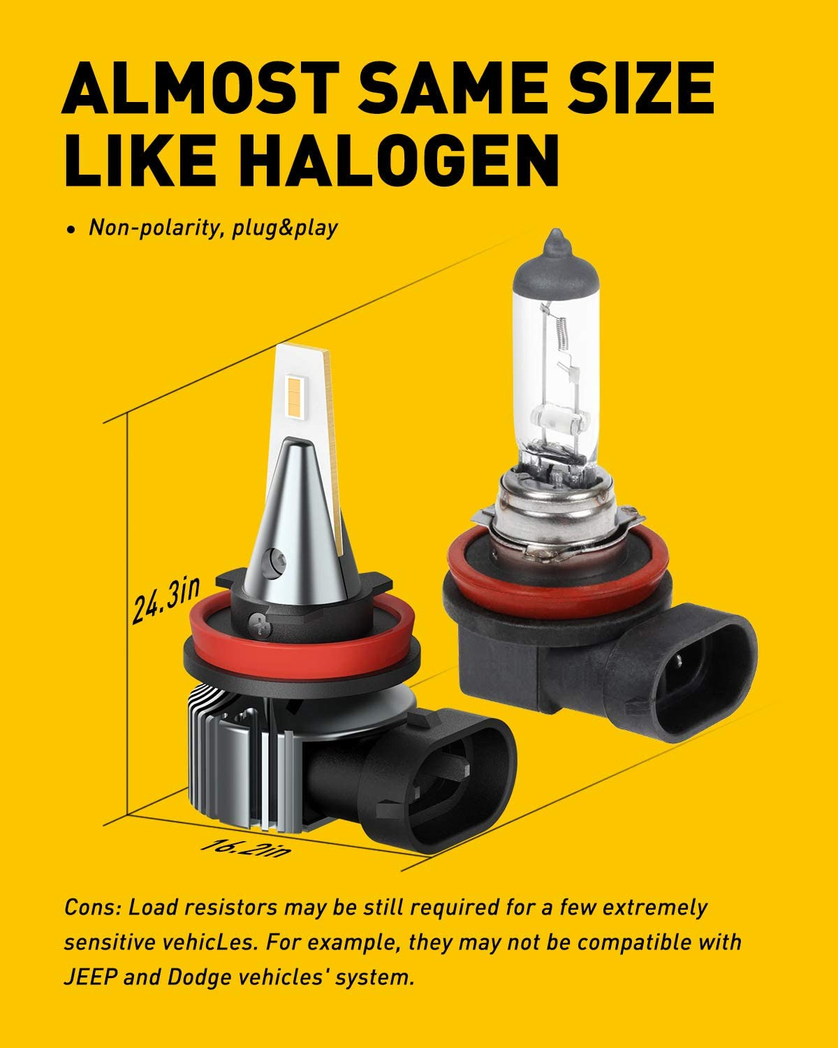 3000K Golden Yellow Light IP65 Waterproof AUXITO H11 H8 H16 LED Fog Light Bulbs 300/% Brighter With CSP LED Chips Non-polarity Pack of 2