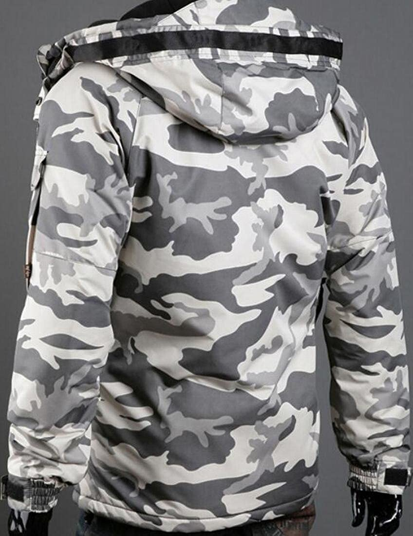 WSPLYSPJY Men Camo Mid Long Parkas Hoodies Autumn Winter Outside Quilted Down Coat