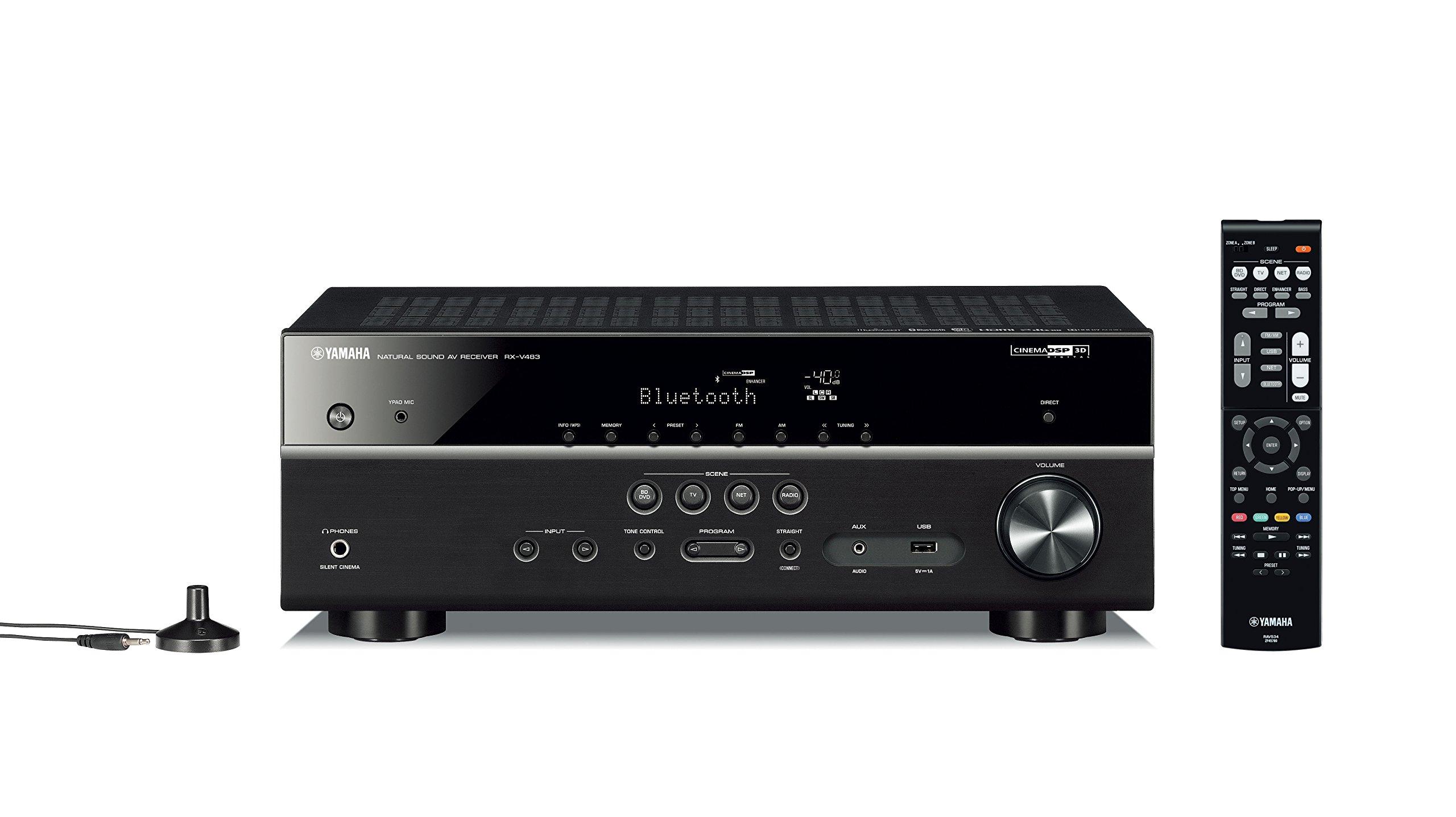 Yamaha RX-V483BL 5.1-Channel 4K Ultra HD MusicCast AV Receiver by Yamaha