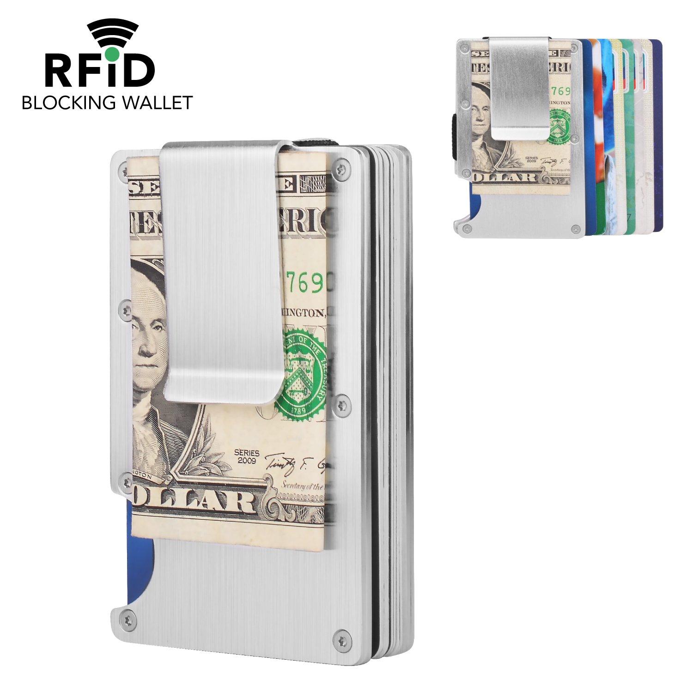 MaxGear RFID Credit Card Holder for Men Money Clip Aluminum Credit Card Clip Metal Credit Card Holder Organizer Silver