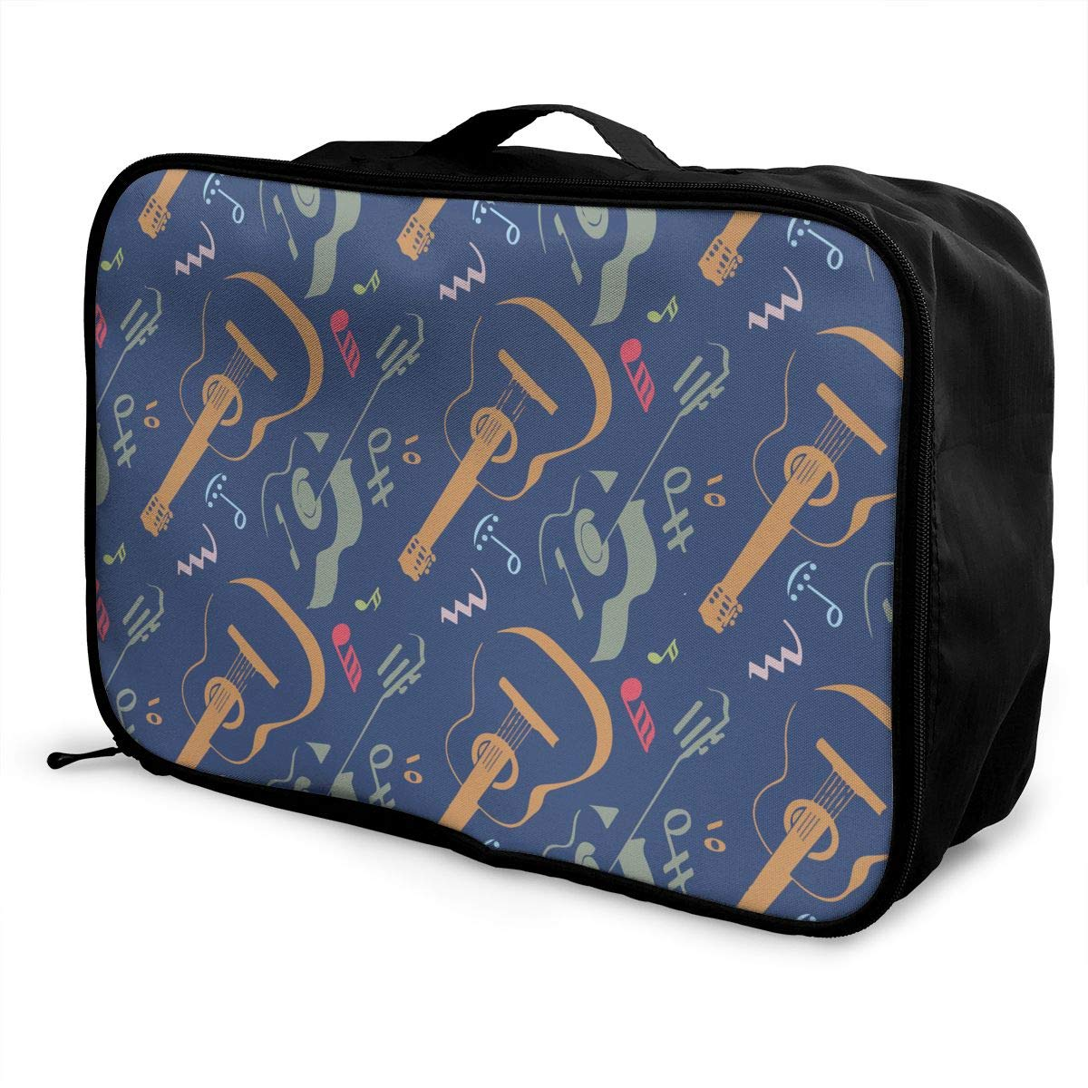 YueLJB Guitar Music Note Lightweight Large Capacity Portable Luggage Bag Travel Duffel Bag Storage Carry Luggage Duffle Tote Bag