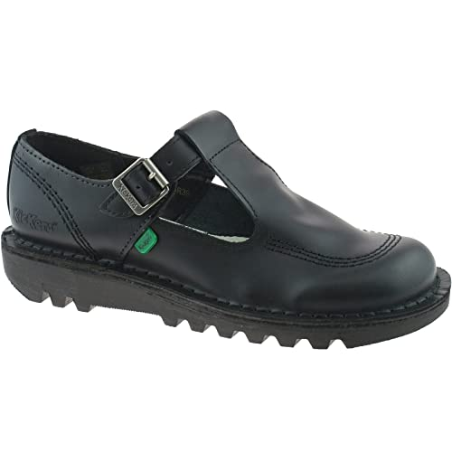 LADIES GIRLS T-BAR AZTEC KICKERS BLACK SCHOOL SHOES KF0000130 SIZE UK 3 - 8 f15819171