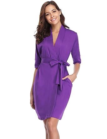 Aibrou Pijama Kimono Mujer Bata Camison Corto Ropa de Dormir Algodón Verano Batas y Kimonos Sexy y Elegante: Amazon.es: Ropa y accesorios