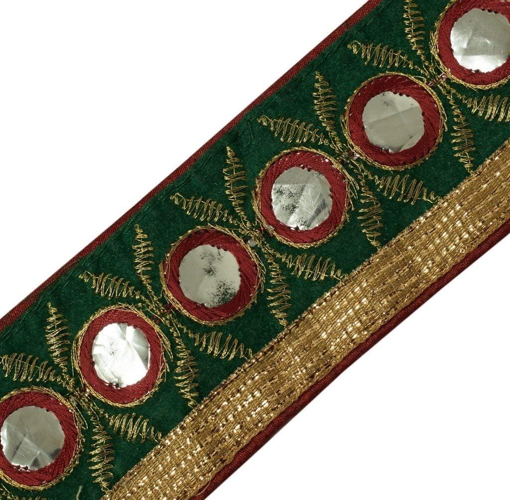 Vintage Sari Border Indian Craft Trim Embroidered Sewing Ribbon Lace Green