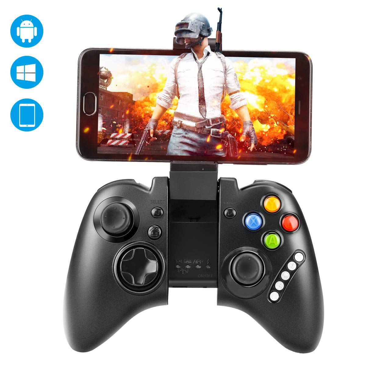Wireless Mobile Game Controller, Jhua Mobile Gaming Gamepad Joystick Rechargeable Stretchable Smartphone Game Clips Supports Android 3.2 Above Smartphone, Windows PC