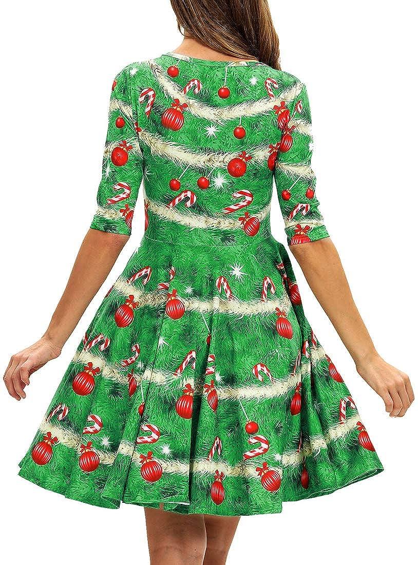 EMILYLE Donna Vestiti Discoteca da Natale Vestiti Patterns di Babbo Natale Stampa Abito Vestiti di Sera E Cerimonia Corto Casual Mezza Manica Dress