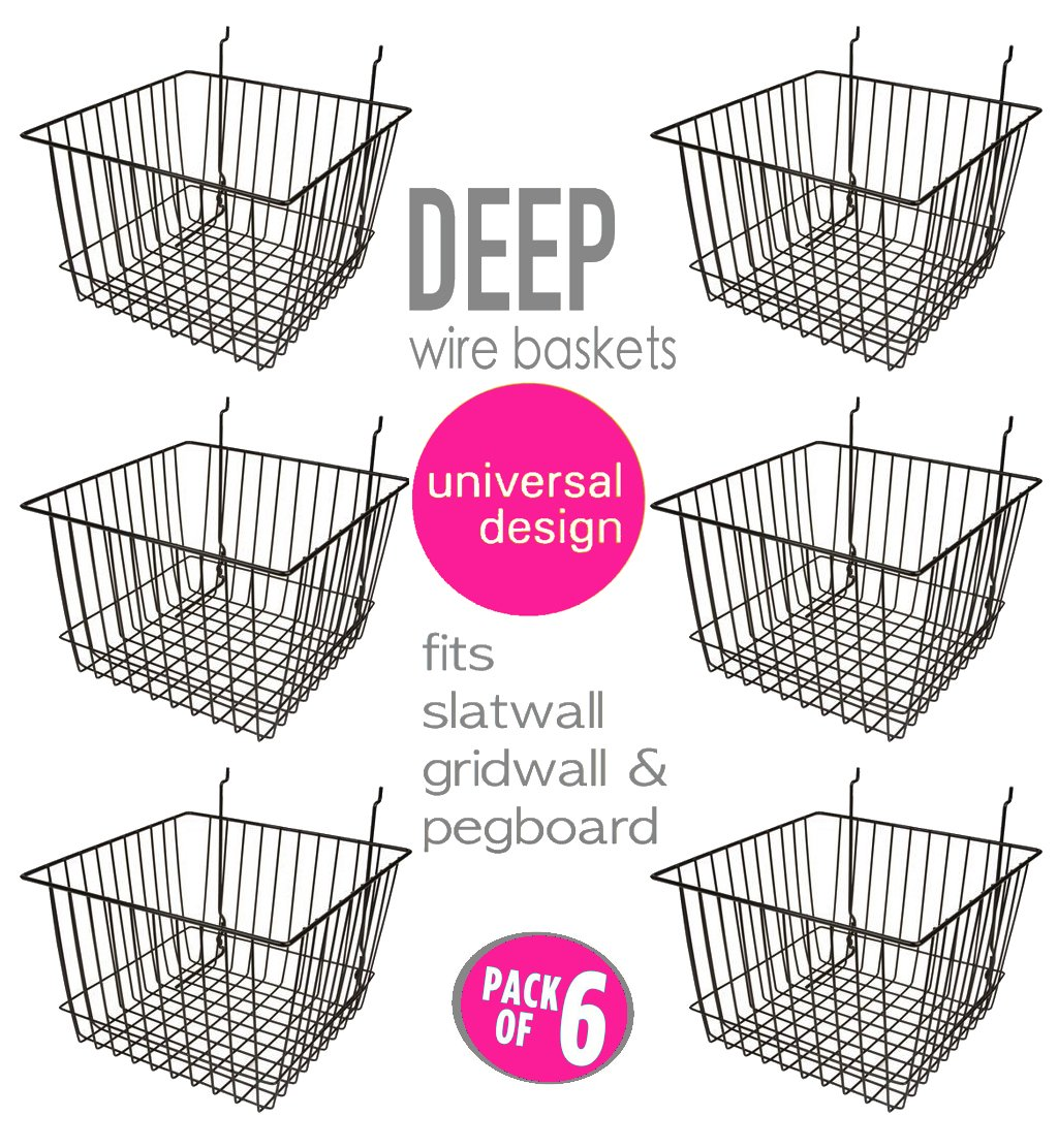 Only Garment Racks Deep Wire Storage Baskets For Gridwall, Slatwall and Pegboard - Black Finish - Dimensions: 12' x 12' x 8' Deep - Economically Sold in a Set of 6 Baskets S & L Store Fixture Inc #8456 Black (Set of 6)