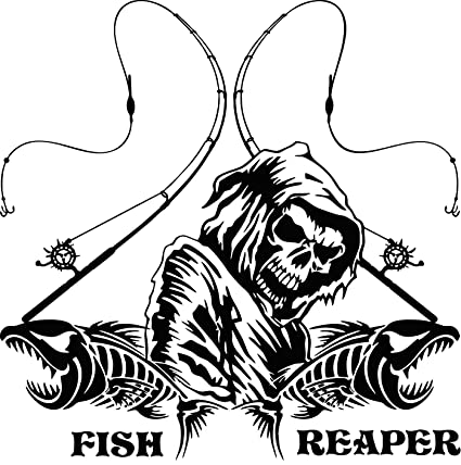 Amazon com: Personalized Fishing Grim Reaper Skull Custom