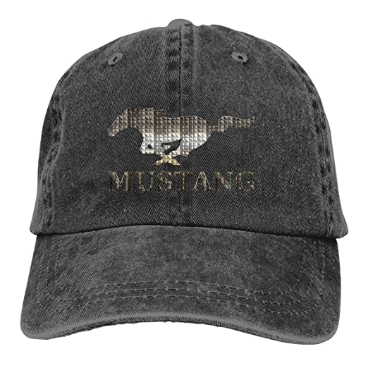 eb3571930e989 Ford Mustang Adjustable Hat Denim Fabric Baseball Caps Black at Amazon  Men s Clothing store