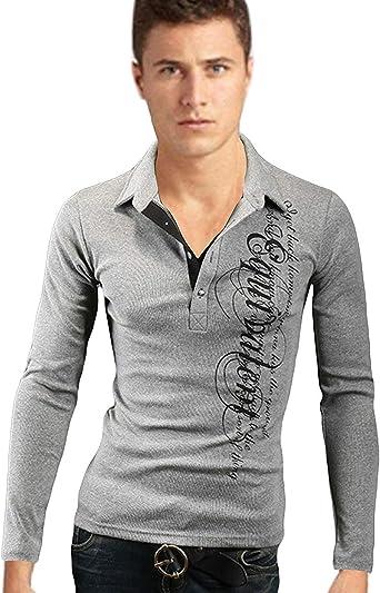 Camisa De Polo para Hombre Regular Fit Camisa Basic Manga De Larga con Estampado Camisa De Moda para Otoño Camisa De Corte Slim Tops: Amazon.es: Ropa y accesorios