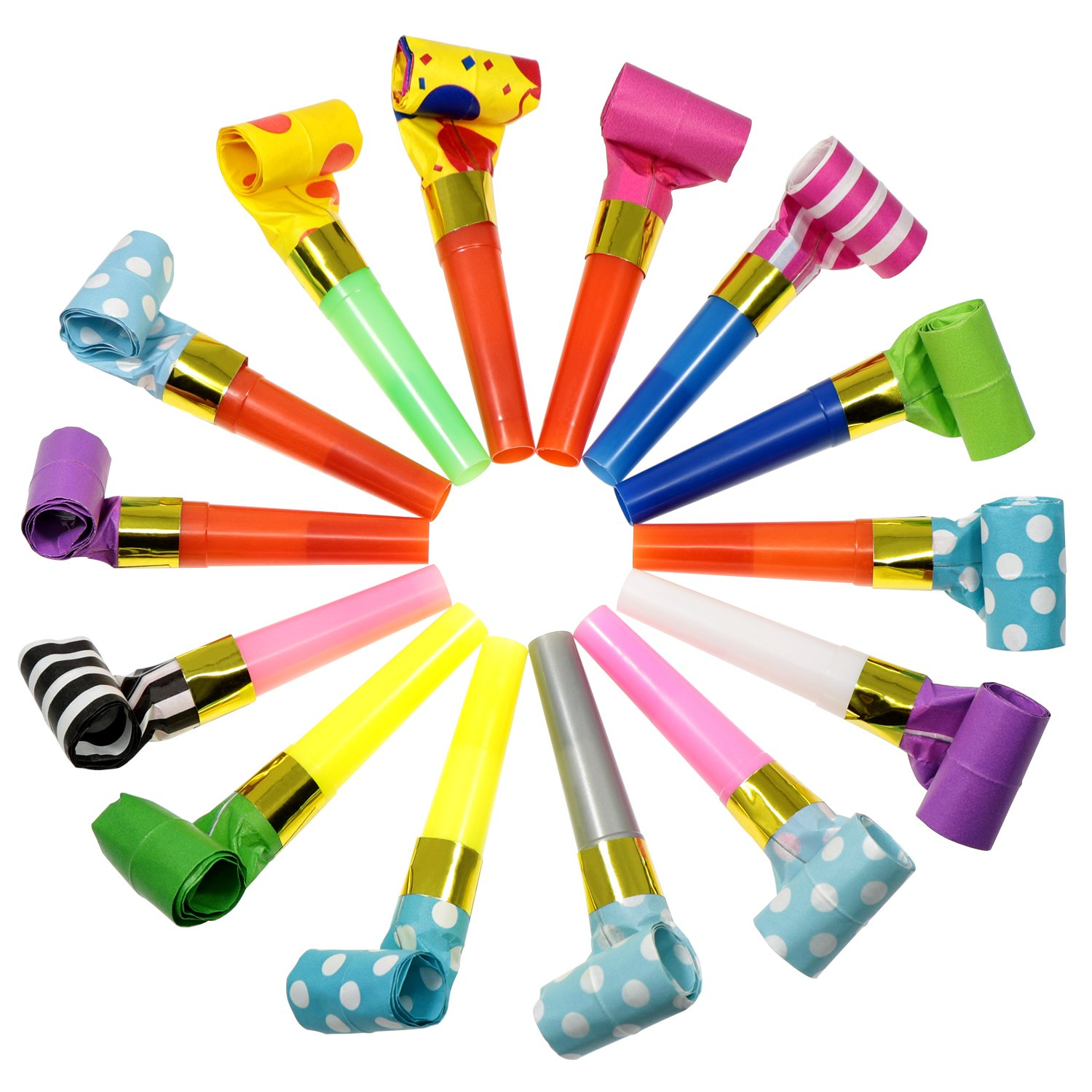 Waykino Party Horns Blowouts Bulk Paper Blowouts Party Favors Toy for Kids Assorted Color, 50 Pieces