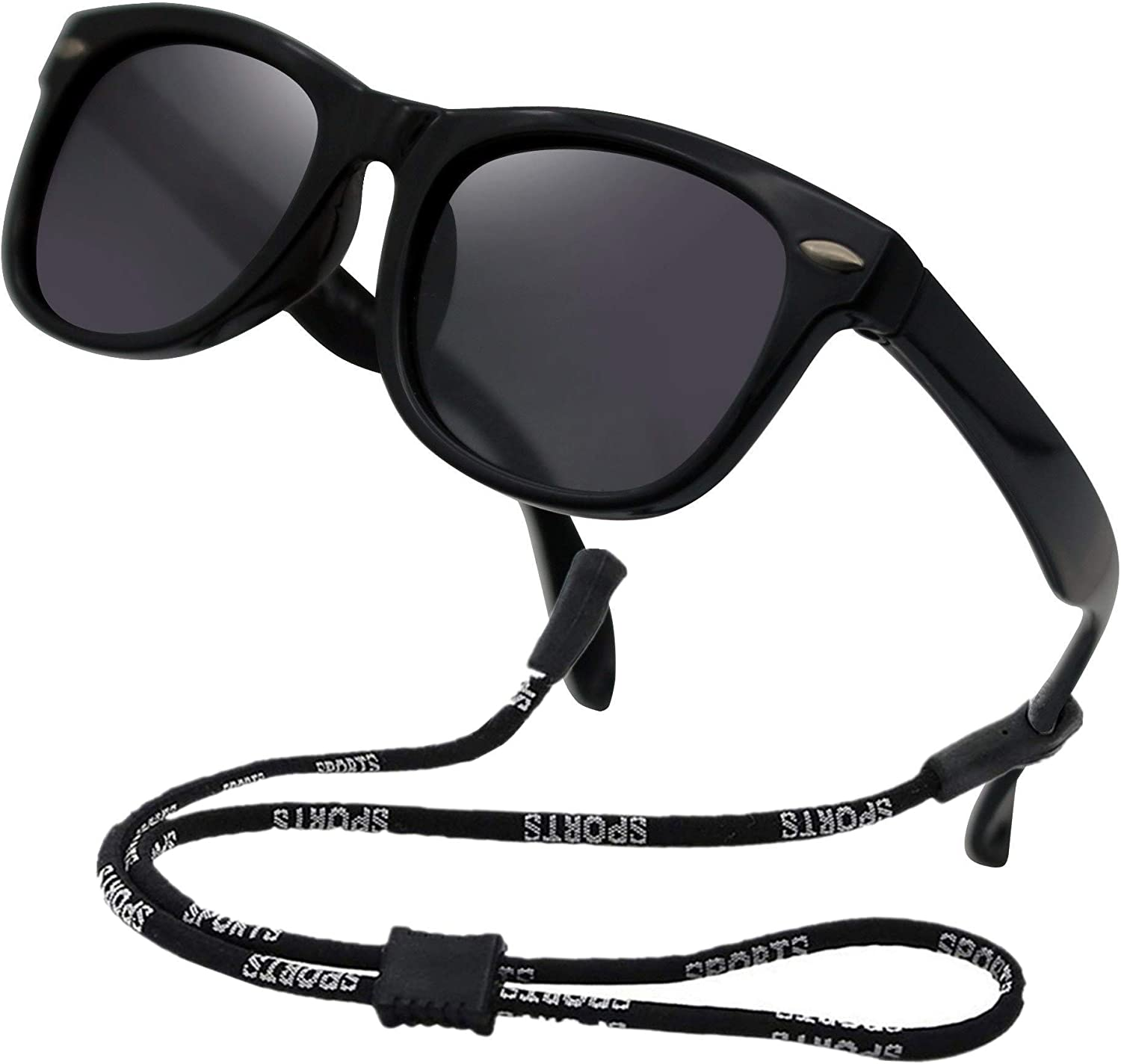 Kids Toddler Baby Flexible Retro Polarized Sunglasses with Strap for Boys Girls