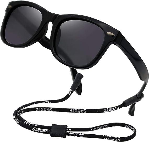 Polarized TPEE Rubber Flexible Sunglasses for Kids Little Girls Boys Age 3-12 Kids Sunglasses