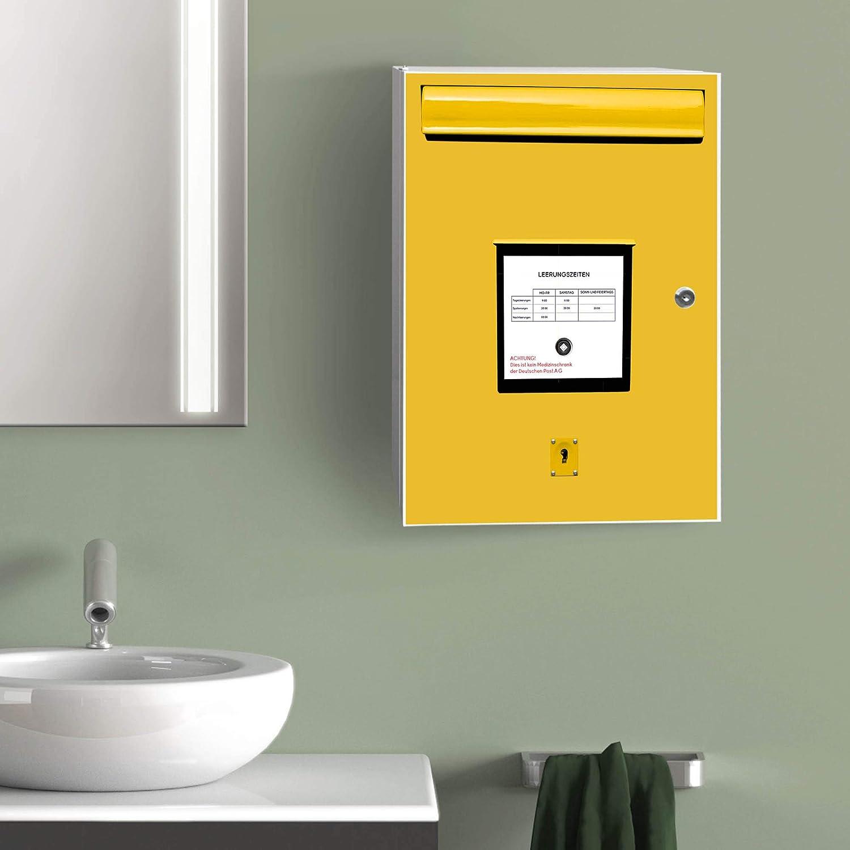 Medikamentenschrank aus Metall grau gro/ßer Arzneischrank 35x46x15cm Gestaltung auf Front Motiv Briefkasten Gelb mit 2 Schl/üsseln banjado XXL Medizinschrank abschliessbar