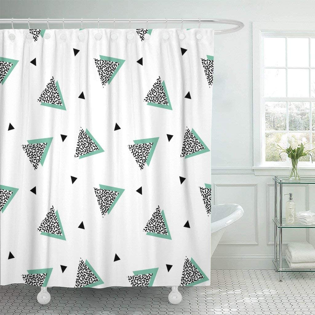 Amazon Com Emvency Fabric Shower Curtain With Hooks Colorful 90s With Triangles In Nineties Style Green Black Geometric Retro 1980s 80s Extra Long 72 X78 Decorative Bathroom Odorless Eco Friendly Home Kitchen