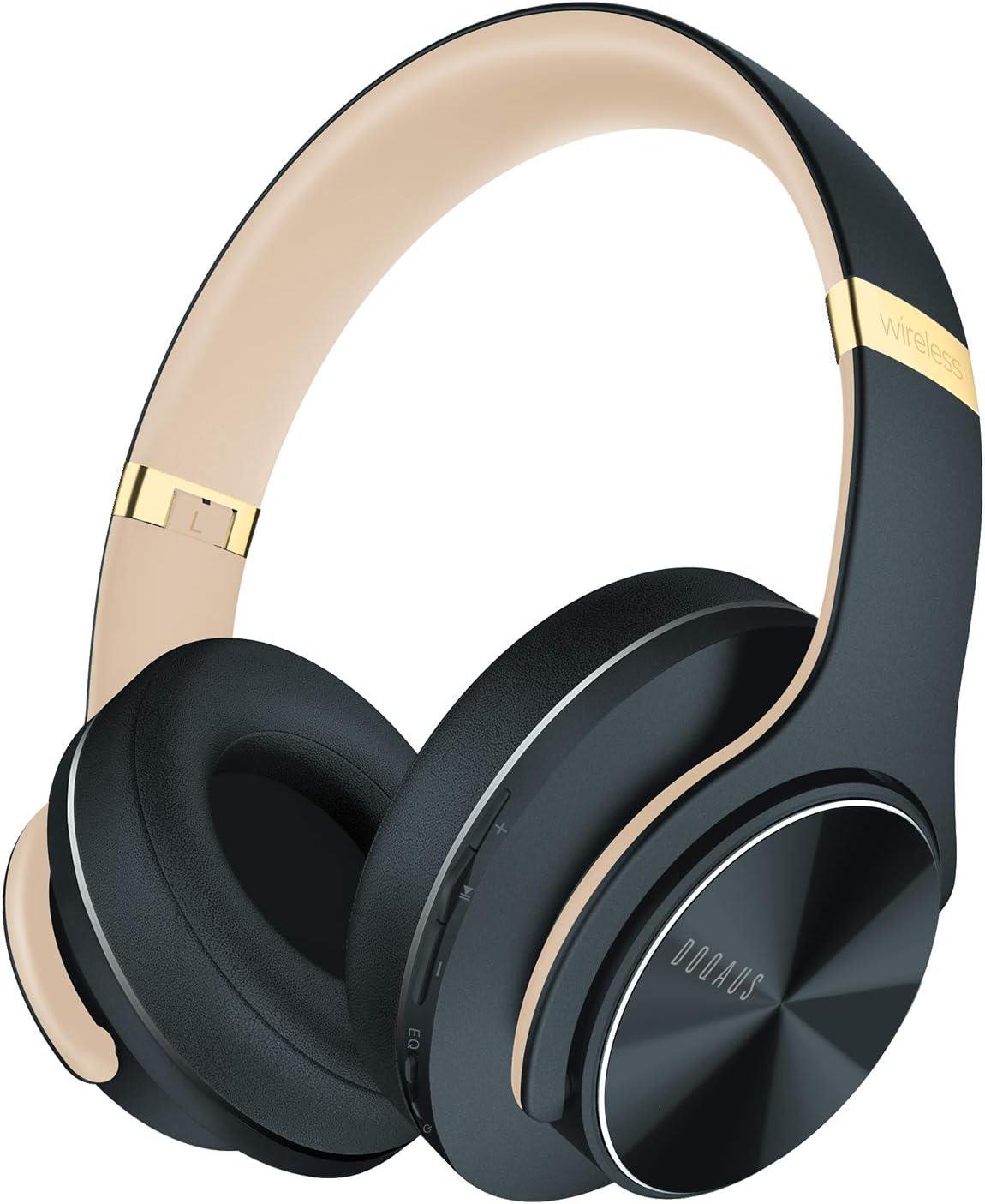DOQAUS Cascos Inalámbrico Bluetooth, [52 Hrs de Reproducir] Alta fidelidad Estéreo Auriculares Diadema con 3 Modo EQ, Micrófono Incorporado, para Móviles/iPhone/Xiaomi/Android/PC/TV (Gris Asfalto)