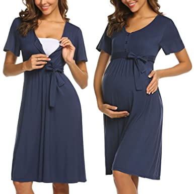 ADOME Frauen Pflege/Geburt/Krankenhaus Nachthemd Kurzarm Nachthemd Umstandsnachthemd mit Knopf Stillnachthemd für Schwangere