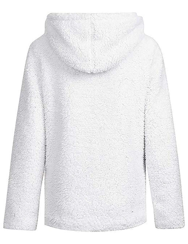 Giuoke Womens Casual Soft Sherpa Fleece Hooded Long Sleeve Pocket Zip Jacket Coat