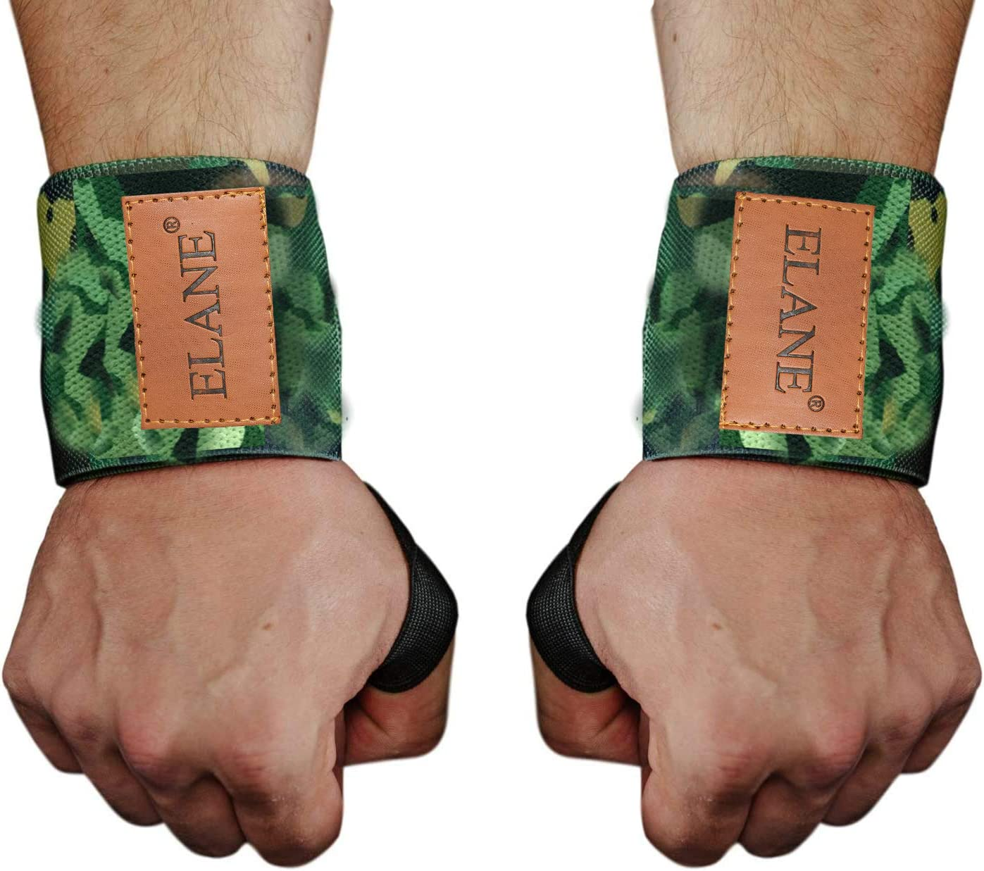 ELANE 2PCS/Pair Wrist Straps Support Braces Wraps for Powerlifting, Bodybuilding, Weight Lifting, Strength Training, Sports, One Size fits All Men& Women (Left and Right) (Camouflage Green) : Sports & Outdoors