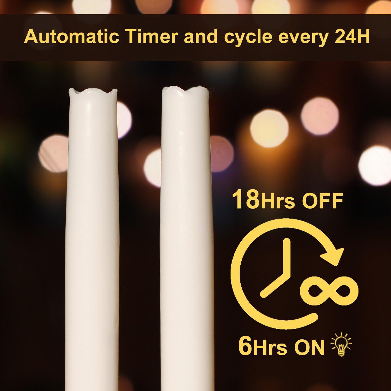 sans flamme Lot de 3 bougies coniques avec minuteur minuteur 6 heures lisses Cire 23 cm blanc cierges /électroniques /à piles 9 pouces