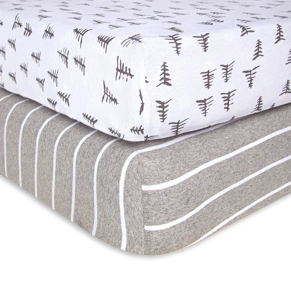 Burt's Bees Baby - Fitted Crib Sheets, 2-Pack, Boys & Unisex 100% Organic Cotton Crib Sheet for Standard Crib and Toddler Mattresses (Pine Forest) by Burt's Bees Baby