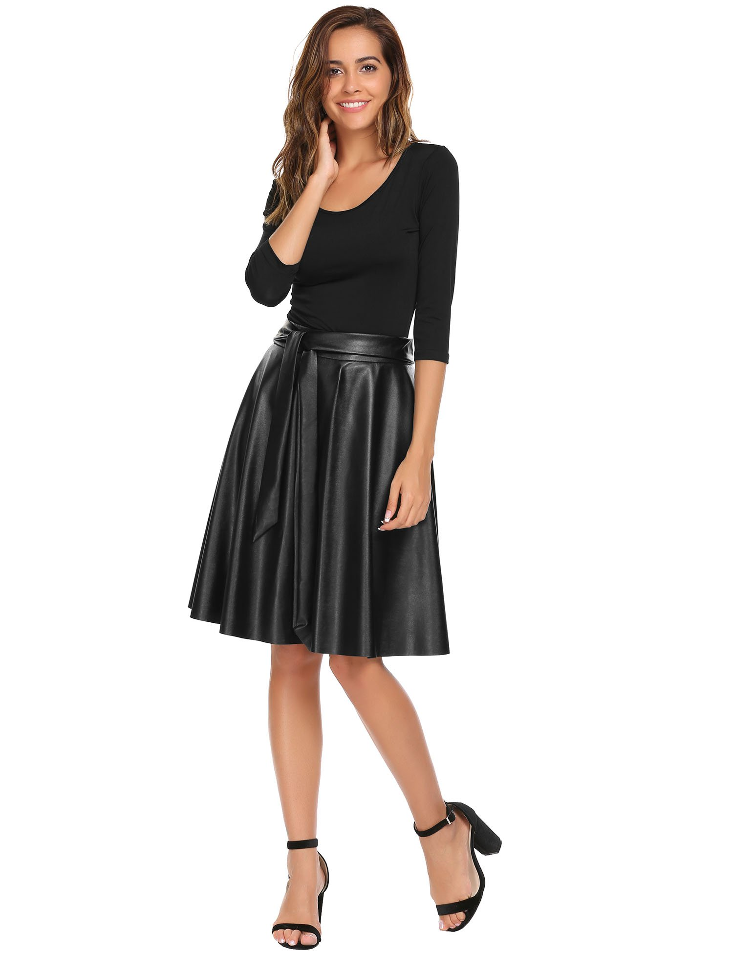 ANGVNS Synthetic Leather High Waist Midi A-Line Swing Street Skirt For Women