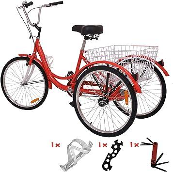VANELL - Bicicleta triciclo de velocidad 7/1 para adultos 20/24/26 en bicicleta de crucero de 3 ruedas con cesta de tamaño grande para mujeres y hombres: Amazon.es: Deportes y aire libre