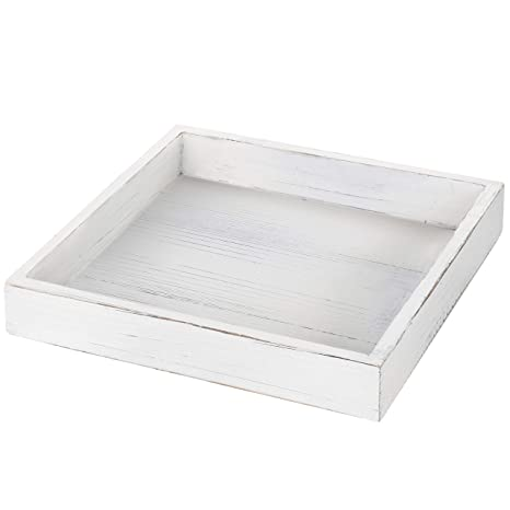 Pleasant Mygift 10 Inch Square Vintage White Wood Serving Tray Caraccident5 Cool Chair Designs And Ideas Caraccident5Info