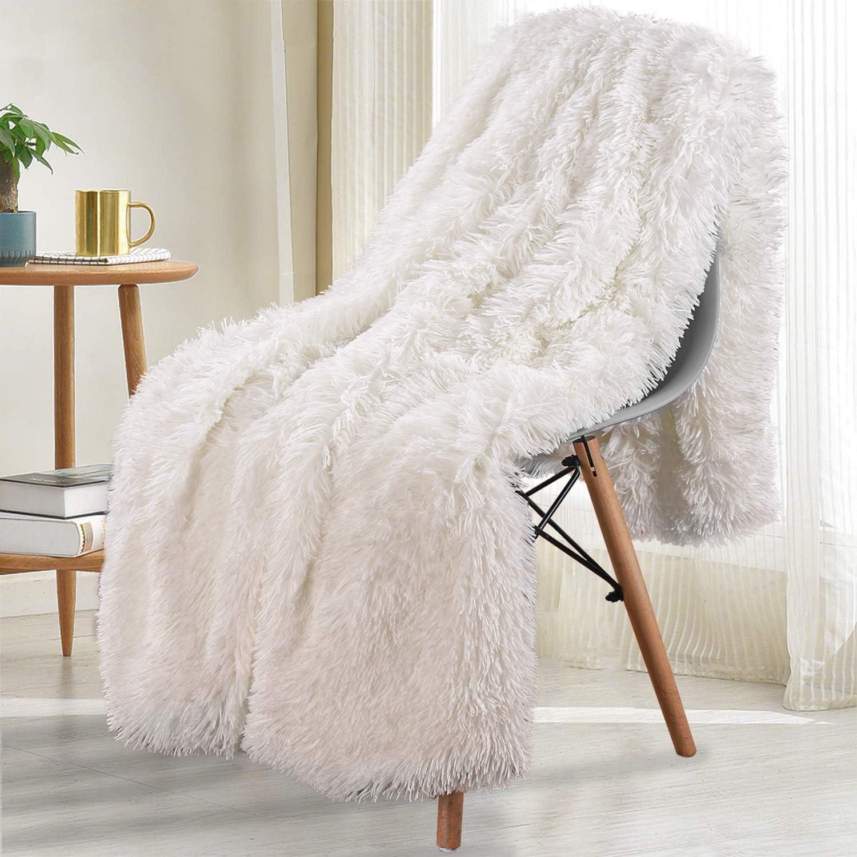 Amazon Com Noahas Shaggy Longfur Throw Blanket With Sherpa Warm Underside Super Soft Cozy Large Plush Fuzzy Faux Fur Blanket Lightweight And Washable Kids Girls Room Decorative Blanket 50 X60 Cream Home Kitchen