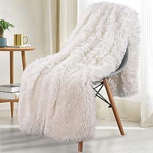Noahas Shaggy Longfur Throw Blanket with Sherpa Warm Underside, Super Soft Cozy Large Plush Fuzzy Faux Fur Blanket, Lightweight and Washable Kids Girls Room Decorative Blanket, 50''x60'', Cream