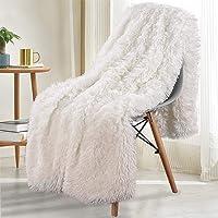 Noahas Shaggy Longfur Throw Blanket with Sherpa Warm Underside, Super Soft Cozy Large Plush Fuzzy Faux Fur Blanket…