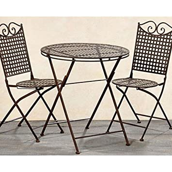 Amazon.de: Garten Set Landhaus, ein Tisch und zwei Stühle aus Metall