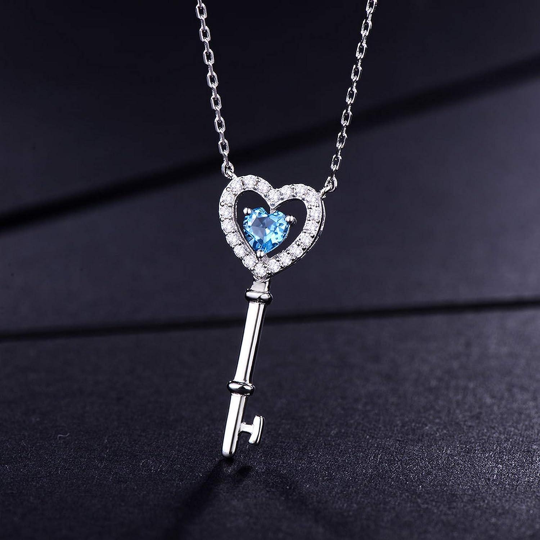 MMC Silver Pendants 0.45ct Genuine Key Shape Blue Topaz Necklaces for Womens
