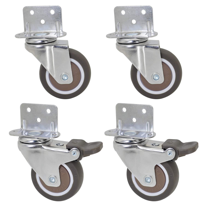 Dr.Luck 2 Inch L-Shaped Plate Swivel Caster Combo, TPE Rubber Wheel Metal Housing Caster L-Shape Side Mount Plate for Furniture, 4 Pack Total Load Capacity 190Lbs/87Kg - 2 Swivel & 2 Swivel w/Brake