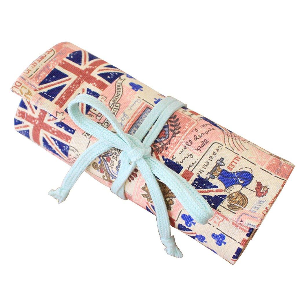 SIPLIV Canvas roll-up matita wrap, viaggio disegno matite da colorare sacchetto per artista, British stile 48 buche (matite non sono inclusi)