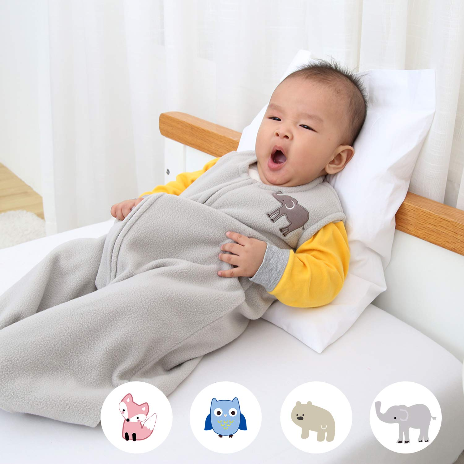 Fits Infants Newborns Ages 6-12 Months TOG 1 Baby Wearable Blanket with Zipper 100/% Thermal Warm Micro Fleece TILLYOU Ultra Soft Sleeveless Sleep Bag Medium M Gray Elephant