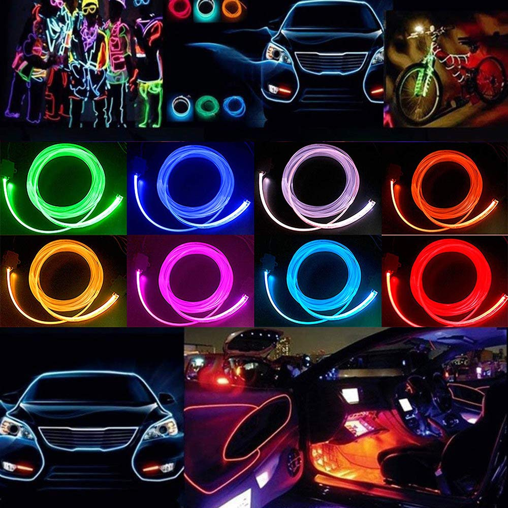 arancione HopeU5/® 5M flessibile EL filo neon LED Decorazione auto tubo corda leggera 12V Inverter